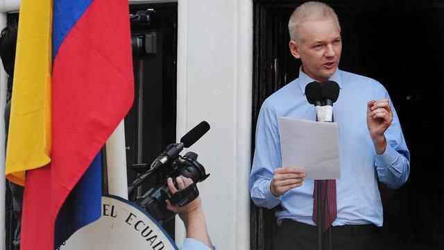 Le fondateur du site internet WikiLeaks, Julian Assange, lors de sa dernière apparition, à Londres, le 19 août 2012 [Carl Court / AFP/Archives]