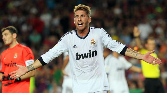 Le défenseur international du Real Madrid Sergio Ramos, le 23 août 2012 lors de la Supercoupe d'Espagne face à Barcelone. [Quique Garcia / AFP/Archives]