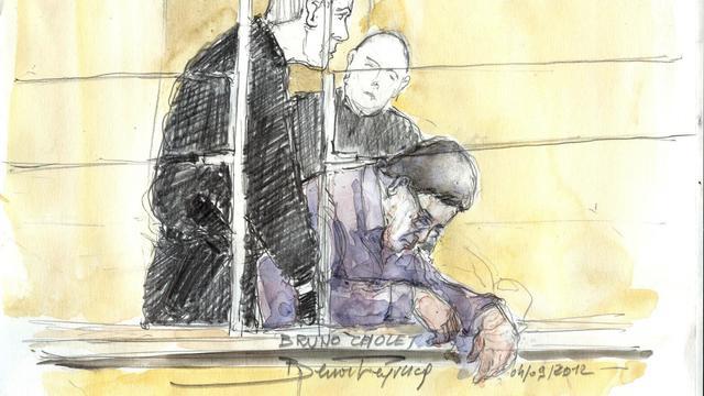Croquis d'audience réalisé le 4 septembre 2012 lors du procès du chauffeur de taxi clandestin Bruno Cholet (d) [Benoit Peyrucq / AFP/Archives]