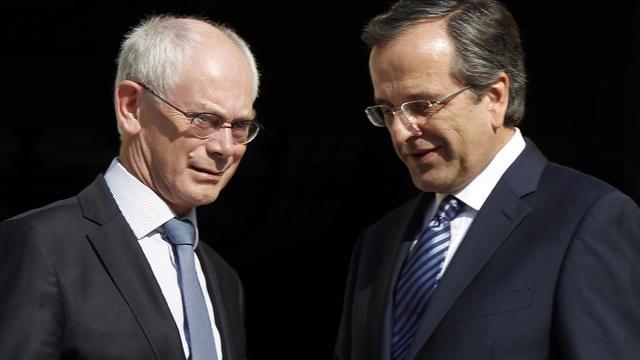Le président du Conseil européen, Herman Van Rompuy, et le Premier ministre grec Antonis Samaras le 7 septembre 2012 à Athènes [Kostas Tsironis / AFP]