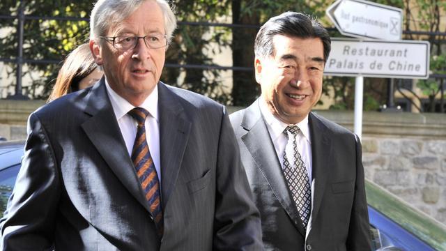 Le président de l'Eurogroupe Jean-Claude Juncker (g), le 8 septembre 2012 à Luxembourg [Georges Gobet / AFP/Archives]
