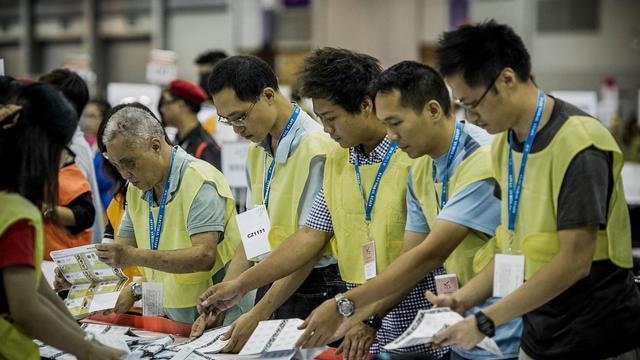 Les pro-Pékin gardent la haute main sur le parlement de Hong Kong à l'issue des élections de dimanche, mais les partis pro-démocratie sont parvenus à conserver leur minorité de blocage, cruciale pour peser sur l'instauration d'un véritable suffrage universel en 2017. [AFP]