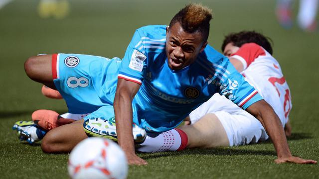 Jordan Ayew (g), le buteur de Marseille à Nancy en Ligue 1 le 16 septembre 2012 à Marce-Picot [Patrick Hertzog / AFP]