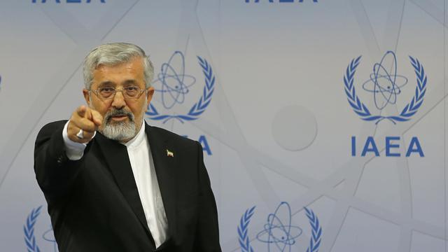 L'envoyé iranien auprès de l'AIEA,  Ali Asghar Soltanieh, en conférence de presse le 17 septembre 2012 à Vienne [Alexander Klein / AFP]