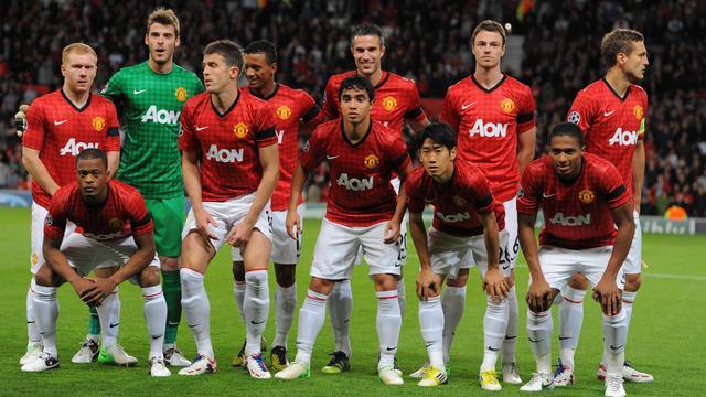 Les joueurs de Manchester United, le 19 septembre 2012, lors de leur match contre Galatasaray à Manchester [Andrew Yates / AFP]