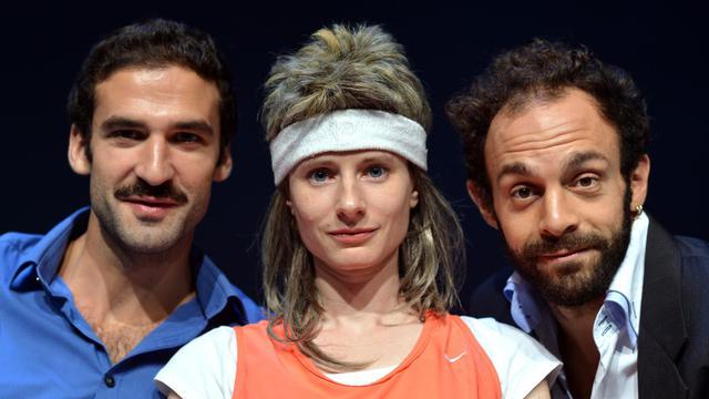 Marie Rémond (c), Clément Bresson (d) et Sébastien Pouderoux (g), le 22 septembre 2012 à Paris [Eric Feferberg / AFP/Archives]