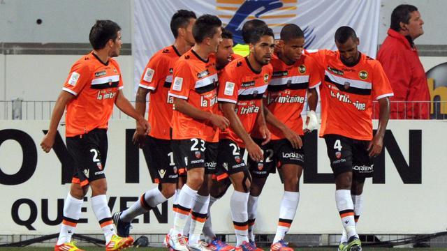 Des joueurs de Lorient lors du match de Ligue 1 face à Nice le 22 septembre 2012 au stade du Moustoir. [Frank Perry / AFP]