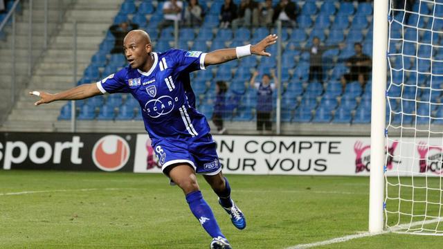 L'attaquant de Bastia Toifilou Maoulida fête son but face à Metz en 16e de finale de la Coupe de la Ligue à Bastia. [Pascal Pochard Casabianca / AFP]