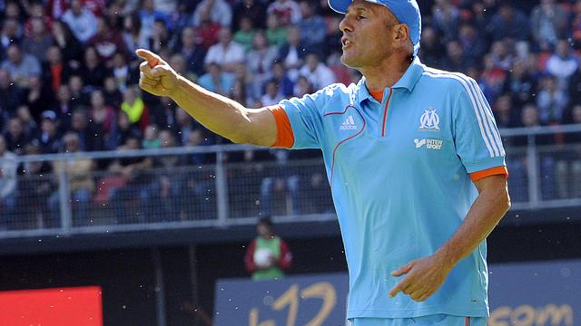 L'entraîneur de Marseille Elie Baup lors de la défaite 4 à 1 face à Valenciennes au stade du Hainaut, le 30 septembre 2012. [Francois Lo Presti / AFP]