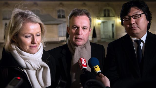 Les coprésidents du groupe écologiste à l'Assemblée nationale Barbara Pompili et François de Rugy (c) le 28 novembre 2012 à Paris [Bertrand Langlois / AFP/Archives]