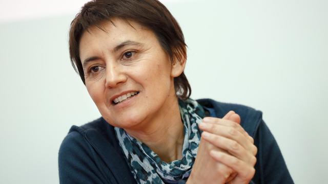 Nathalie Arthaud, porte-parole de Lutte Ouvrière, le 3 décembre 2012 à Paris [Patrick Kovarik / AFP/Archives]