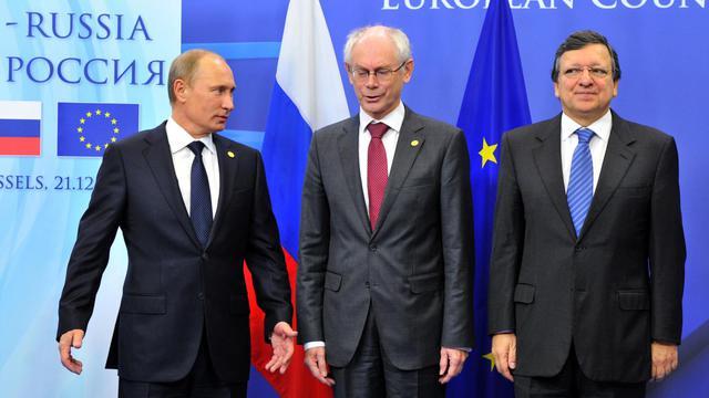 Le président russe Vladimir Poutine, le président de l'UE Herman Van Rompuy et le chef de la Commission européenne Jose Manuel Barroso à Bruxelles le 21 décembre 2012 [Georges Gobet / AFP/Archives]