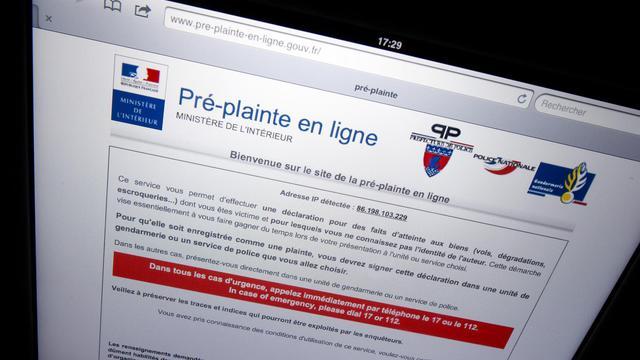 La page web du ministère de l'Intérieur affichant une pré-plainte en ligne le 13 mars 2012 à Paris [Lionel Bonaventure / AFP/Archives]