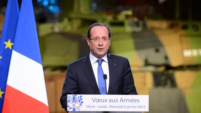 François Hollande présente ses voeux aux armées, le 9 janvier 2013 à Olivet, près d'Orléans [Alain Jocard / AFP/Archives]