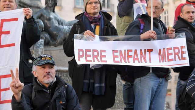 Manifestation de pères séparés le 20 février 2013 à Nantes [Frank Perry / AFP/Archives]