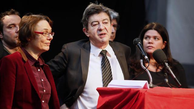 Jean-Luc Mélenchon (c) et Martine Billard (g), du Parti de gauche, le 6 mars 2013 aux Lilas à Paris [Kenzo Tribouillard / AFP/Archives]