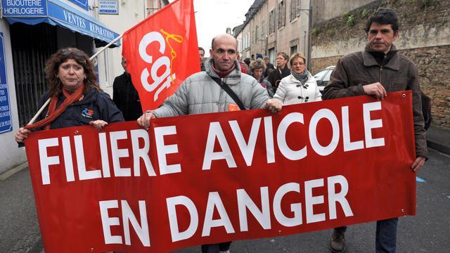 Des salariés des abattoirs manifestent à Landivisiau (Finistère), le 16 mars 2013 [Fred Tanneau / AFP/Archives]