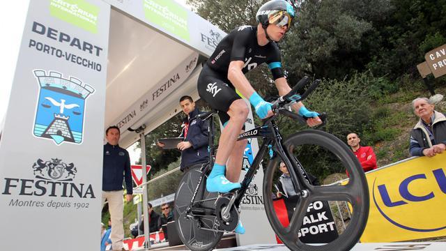 Chris Froome au départ du Critérium International le 23 mars 2013 à Porto-Vecchio [Pascal Pochard Casabianca / AFP/Archives]