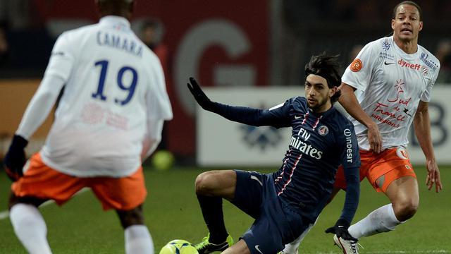 Le milieu offensif du PSG Javier Pastore (c), en championnat contre Montpellier au Parc des Princes, le 29 mars 2013 [Franck Fife / AFP/Archives]