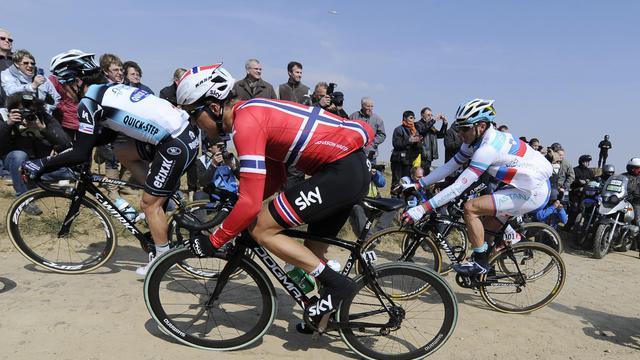 Le Norvégien Edvald Boasson Hagen (Sky) lors de Paris-Roubaix le 7 avril 2013 [Lionel Bonaventure / AFP]