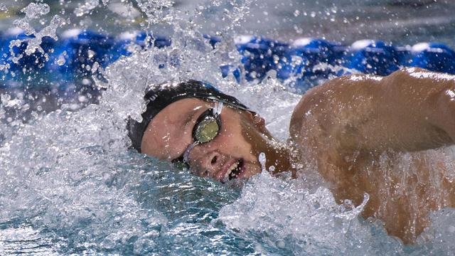 Yannick Agnel lors de l'épreuve de 200 m nage libre aux championnats de France de natation, le 14 avril 2013 à Rennes [Alain Jocard / AFP/Archives]