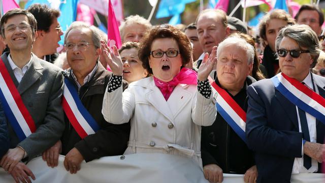 Christine Boutin (C) lors de la manifestation contre le mariage homosexuel, le 21 avril 2013 à Paris [Thomas Samson / AFP/Archives]