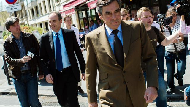 François Fillon le 24 avril 2013 à Paris. A gauche Jean-François Copé [Martin Bureau / AFP/Archives]