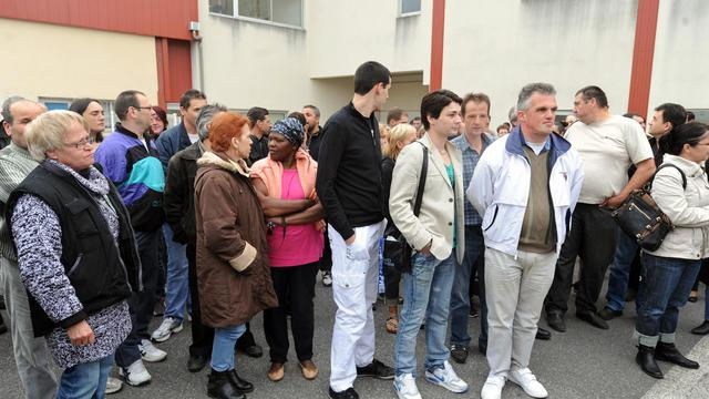 Des employés de Spanghero devant l'usine du groupe à Castelnaudary, le 26 avril 2013 [Eric Cabanis / AFP/Archives]