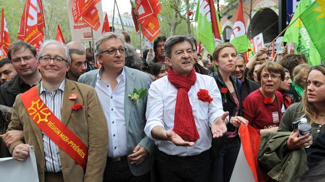 Christian Picquet, Pierre Laurent, Jean-Luc Mélenchon et Clémentine Autain le 5 mai 2013 à Paris [Pierre Andrieu / AFP/Archives]