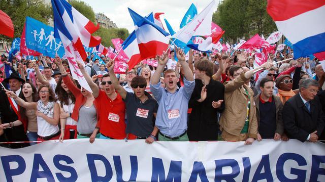 Des manifestants anti mariage gay, à Paris, le 5 mai 2013 [Loic Venance / AFP/Archives]