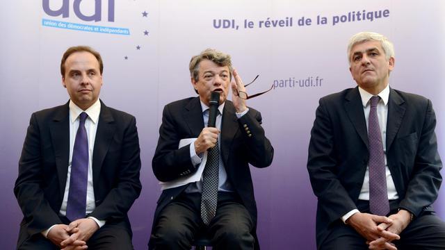 Jean-Christophe Lagarde (g), Jean-Louis Borloo (c) et Hervé Morin donnent une conférence de presse à Paris le 6 mai 2013 [Bertrand Guay / AFP/Archives]