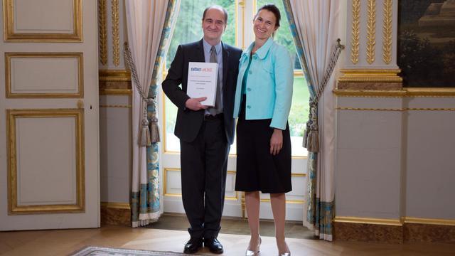 La ministre de la Culture Aurélie Filipetti et Pierre Lescure à l'Elysée, le 13 mai 2013 [Bertrand Langlois / AFP/Archives]