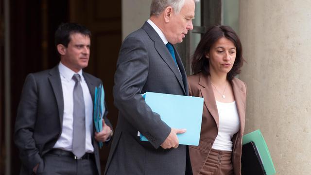 La ministre du Logement Cécile Duflot et le Premier ministre Jean-Marc Ayrault, sur le perron de l'Elysée, le 14 mai 2013 [Bertrand Langlois / AFP/Archives]