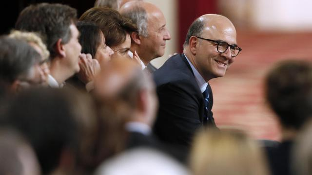 Le ministre de l'Economie Pierre Moscovici pendant la conférence de presse de François Hollande le 16 mai 2013 à l'Elysée [Patrick Kovarik / AFP]