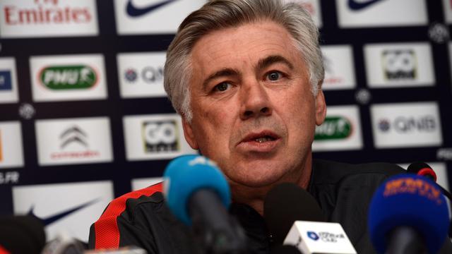 L'entraîneur italien du PSG Carlo Ancelotti, lors d'une conférence de presse, le 17 mai 2013 à Saint-Germain-en-Laye [Eric Feferberg / AFP]