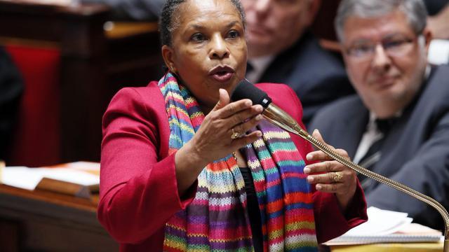 La ministre de la Justice, Christiane Taubira, le 22 mai 2013 à l'Assemblée nationale [Patrick Kovarik / AFP/Archives]