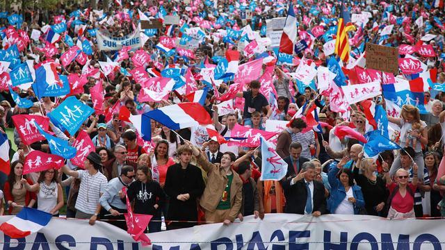 Des manifestants anti-mariage gay, le 5 mai 2013 à Paris [Loic Venance / AFP/Archives]