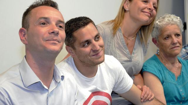Vincent Autin, Bruno Boileau, sa soeur et sa mère le 29 mai 2013 à Montpellier [Pascal Guyot / AFP]