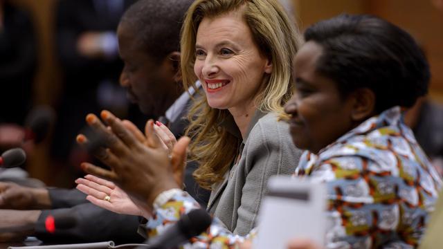 Valérie Trierweiler assiste à un panel en parallèle à la session du Conseil des Droits de l'Homme de l'ONU, le 30 mai 2013 à Genève [Fabrice Coffrini / AFP]