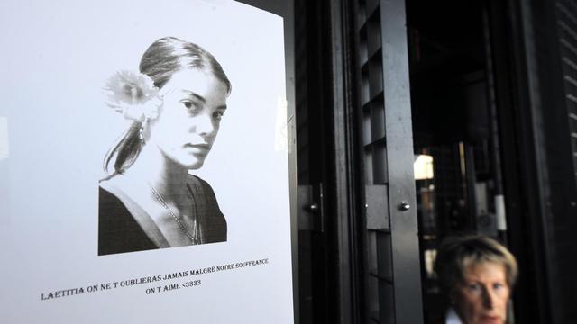 Portrait de Laetitia Perrais placardé sur un mur du tribunal de Nantes, le 5 juin 2013 [Jean-Francois Monier / AFP/Archives]