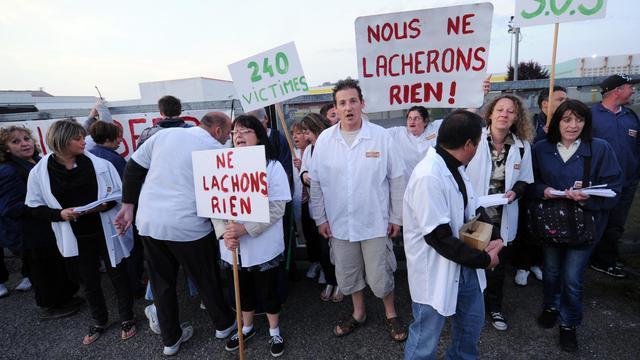 Des salariés de Spanghero, l'entreprise de Castelnaudary, manifestent le 6 juin 2013 à Saint-Geours-de-Maremne [Gaizka Iroz / AFP/Archives]