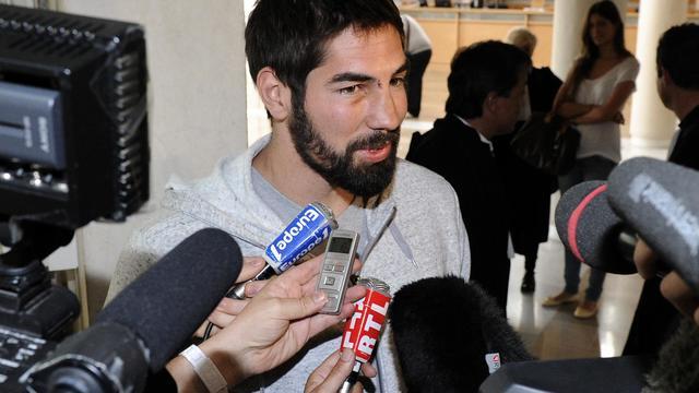 Le handballeur Nikola Karabatic après son audition par la justice dans l'affaire des paris le 10 juin 2013 à Montpellier [Pascal Guyot / AFP]
