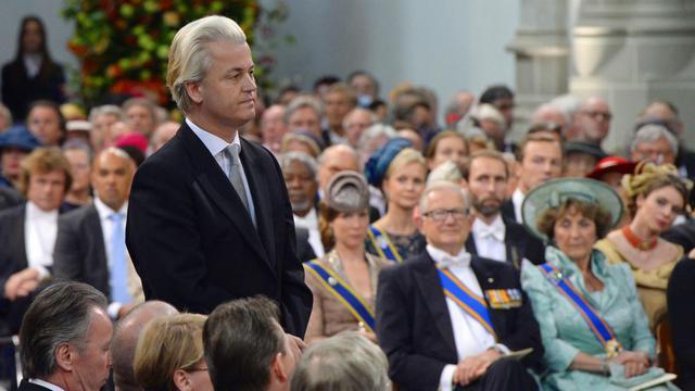Le chef de file de l'extrême-droite Geert Wilders lors de la cérémonie d'intronisation du roi Willem-Alexander des Pays-Bas, le 30 avril 2013 à Amsterdam [Robin Utrecht / Pool/AFP/Archives]