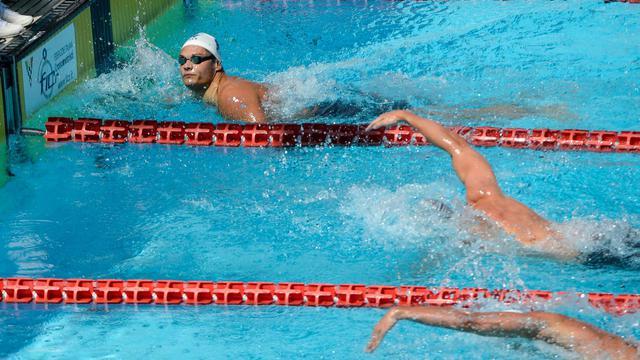 Le Français Florent Manaudou à l'arrivée des séries du 100 m nage libre , le 15 juin 2013 à Rome [Andreas Solaro / AFP]