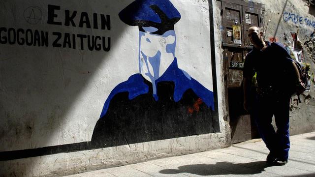Une peinture consacrée à l'ETA sur un mur de la ville d'Hernani en espagne [Ander Arrizurieta / AFP/Archives]