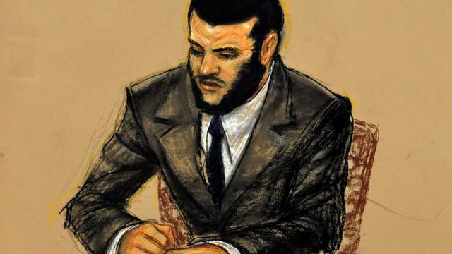 Croquis d'audience de Janet Hamlin représentant Omar Khadr le 31 octobre 2010 [Janet Hamlin / AFP/Archives]