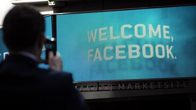 Panneau pour l'entrée en bourse de Facebook à New York, le 18 mai 2011 [Emmanuel Dunand / AFP/Archives]