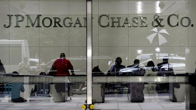 L'entrée du siège de la banque JPMorgan Chase à New York, le 13 juillet 2012 [Timothy A. Clary / AFP/Archives]