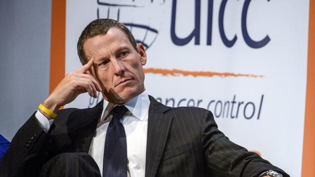 Lance Armstrong, fondateur de la fondation Livestrong, lors du Congrès mondial du cancer, le 29 août 2012 à Montréal. [Rogerio Barbosa / AFP]