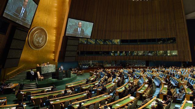 Le président François Hollande le 25 septembre 2012 à la tribune de l'Onu à New York [Eric Feferberg / AFP]